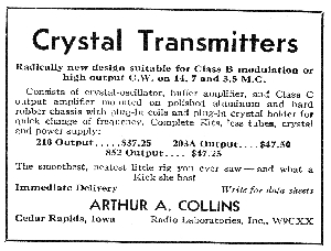 Collins First Ad, 6 years after the Radio AGE article