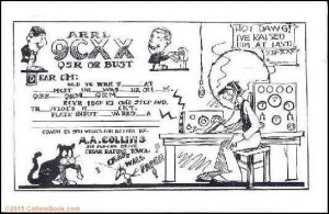 Arthur Collins Cartoon 9CXX QSL card