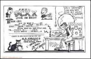 Arthur Collins Cartoon 9CXX QSL card