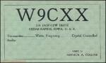 Arthur Collins W9CXX QSL card